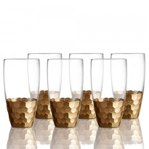 Fitz and Floyd 229705-6HB Daphne Highball Glass Set of 6 - Gold