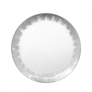 ChargeIt by Jay 1875009 Selene Silver Glass Round Charger Plate