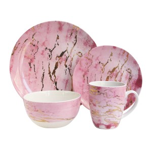 """American Atelier 7090-16-RB 16 Piece Marble Dinnerware Set, 10.5"""" x 10.5"""", Pink/Gold"""