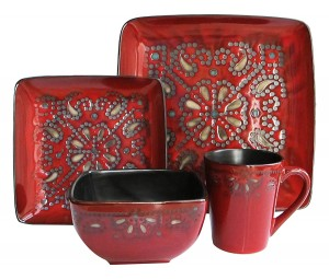 American Atelier Marquee 16-Piece Reactive Square Dinnerware Set, Red