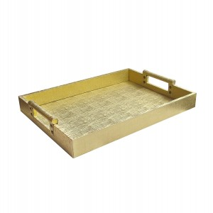 American Atelier 1183912 Leather Rectangle Serving Tray, Gold