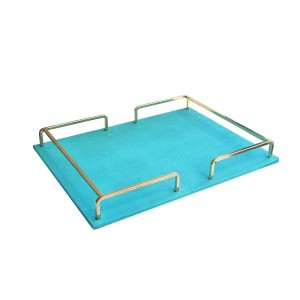 American Atelier Shagrin Rectangle Rail Tray, Teal/Gold
