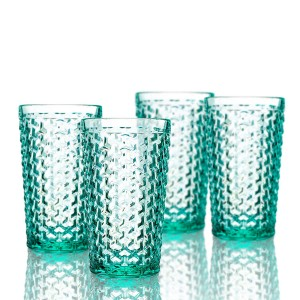 Elle Decor  229803-4HBGR  Bistro Weave  4 Pc Set Highball Glasses, Green-Glass Elegant Barware and Drinkware, Dishwasher Safe 13.5 Oz Green