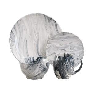 Elle Decor 1562504-RB Marble Dinnerware Set, Gray