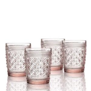 Elle Decor  229807-4OFPU Bistro Ikat  4 Pc Set Old Fashion Glasses, Pink-Glass Elegant Barware and Drinkware, Dishwasher Safe 9.8 Oz Pink