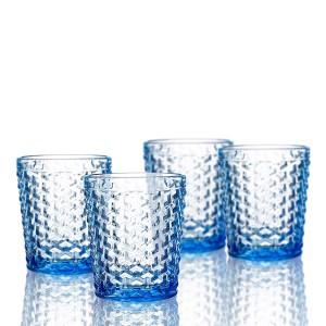 Elle Decor  229803-4OFBL Bistro Weave  Set of 4 Old Fashions, Blue-Glass Elegant Barware and Drinkware, Dishwasher Safe 10.8 Oz Blue