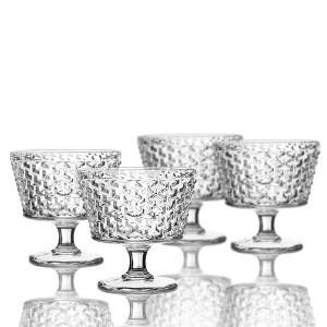 Elle Decor 229803-4PB Bistro Weave - Pedestal Bowls, Clear, 4.3 x 4.3