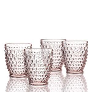 Elle Decor  229804-4OFPU  Bistro Dot  4 Pc Set Fashion Glasses, Pink-Glass Elegant Barware and Drinkware, Dishwasher Safe 10 Oz Pink