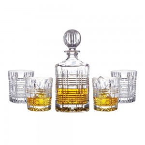 Fitz and Floyd Portland Crystal 5 Piece Elegant Decorative Whiskey Decanter Set Ornate Top with 4 Old Fashion Glasses for Wine, Bourbon, Brandy, Liquor, Juice and Water – Makes For an Ideal Gift