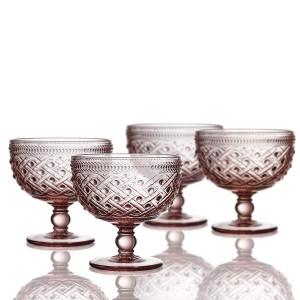"Elle Decor 229807-4PBPU Bistro Ikat Pedestal Bowls, 4.3"" x 4.3"", Pink"