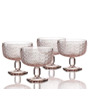 Elle Decor 229806-4PBPU Bistro Key - Pedestal Bowls, Pink, 4.3 x 4.3