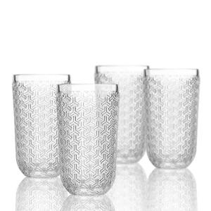 Elle Decor  229806-4HB Bistro Key  4 Pc Set Highball Glasses,Clear-Glass Elegant Barware and Drinkware, Dishwasher Safe 14 Oz Clear