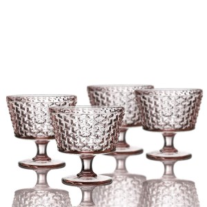 "Elle Decor Bistro Weave Pedestal Bowls, Pink, 4.3"" x 4.3"""