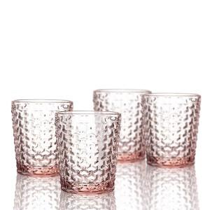 Elle Decor  229803-4OFPU Bistro Weave  4 Pc Set Old Fashion Glasses, Pink-Glass Elegant Barware and Drinkware, Dishwasher Safe 10.8 Oz Pink