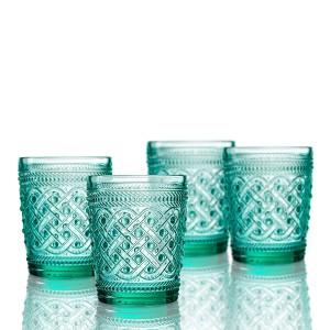 Elle Decor  229807-4OFGR  Bistro Ikat  4 Pc Set Old Fashion Glasses, Green-Glass Elegant Barware and Drinkware, Dishwasher Safe 9.8 Oz Green