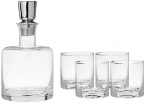 Fitz and Floyd Linus 5 Piece Whiskey Set, Clear