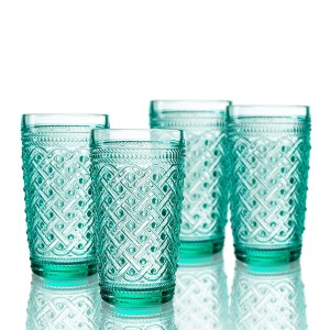 Elle Decor  229807-4HBGR Bistro Ikat  Set of 4 Highballs, Green-Glass Elegant Barware and Drinkware, Dishwasher Safe 13 Oz Green