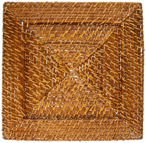 ChargeIt by Jay Harvest Square Rattan Charger Plate