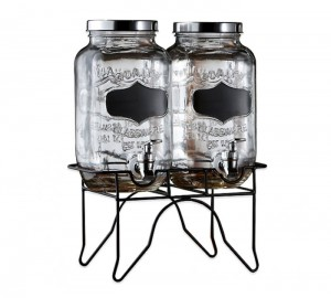 Style Setter Blackboard Glass Beverage Dispenser with Stand