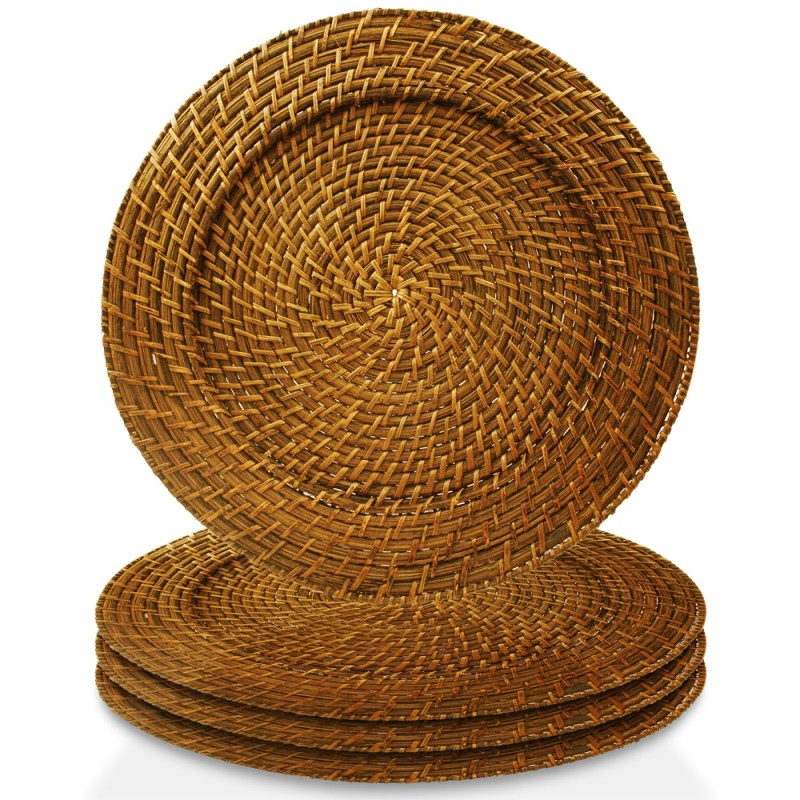 Charge it by Jay Harvest Round Rattan Charger Plate - Set of 4