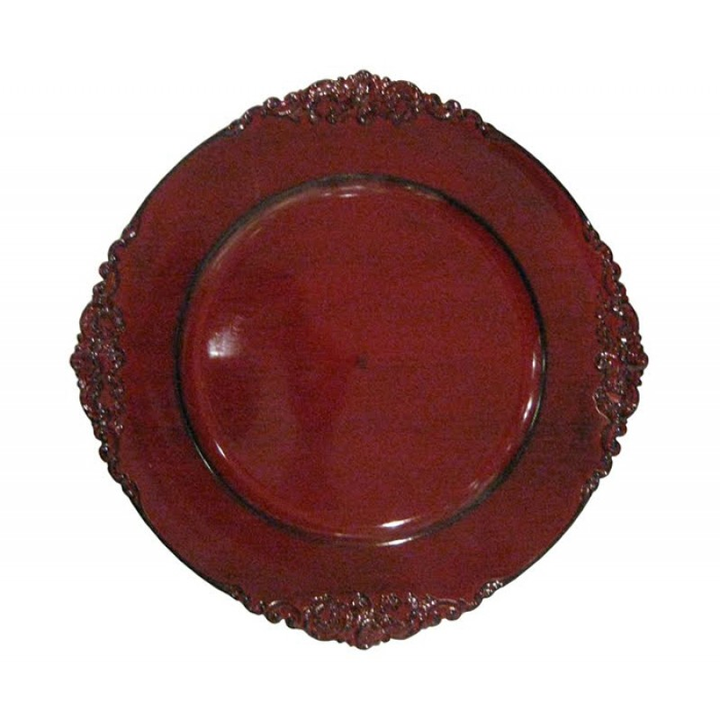 Royal Round Red Charger Plate Embossed