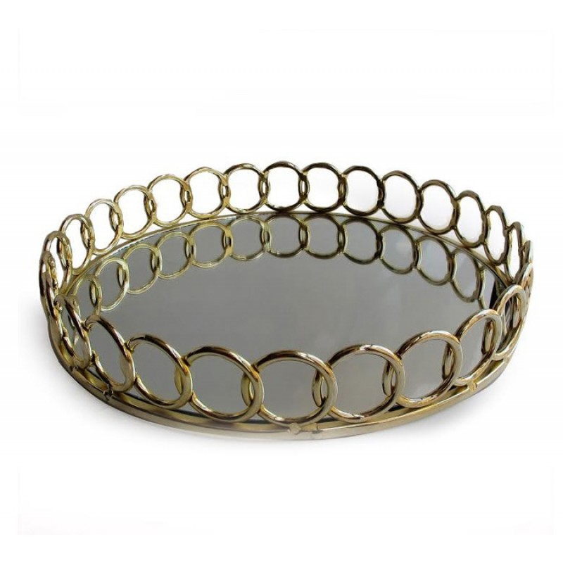 American Atelier Round Mirror Looped Tray