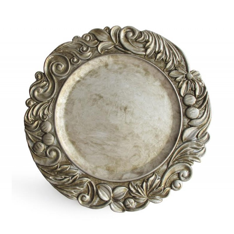 Round Silver Aristocrat Polypropylene Charger Plate