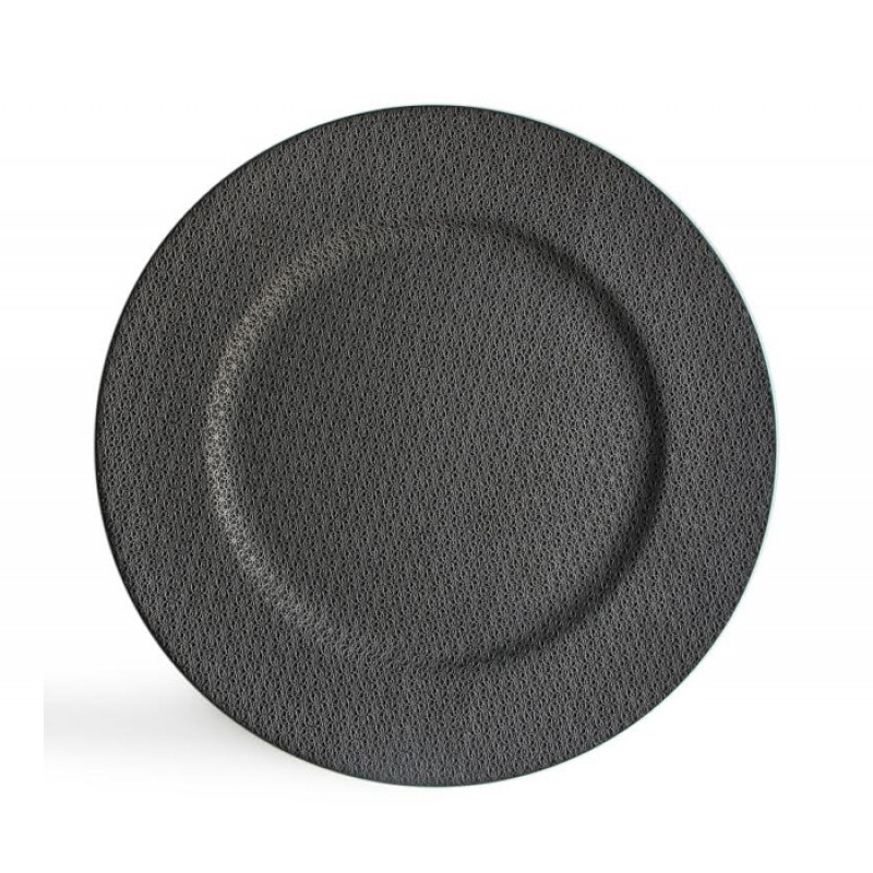 Round Textured Ash Gray Charger Plate