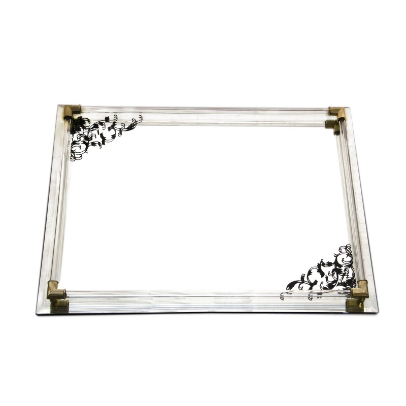 """American Atelier Mirror Vanity Tray with Blackscrolls & Gold Accents-14x10"""""""