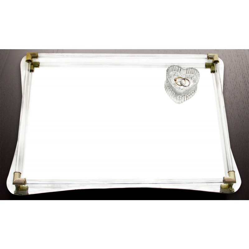 American Atelier Curved Mirror Vanity Tray with Gold Accents-12x16""