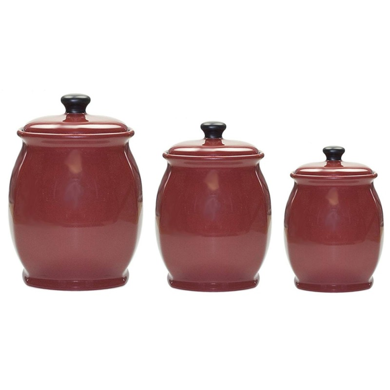 American Atelier Hearthstone 3-piece Canister Set, 32oz, 54oz, 88oz Chili Red