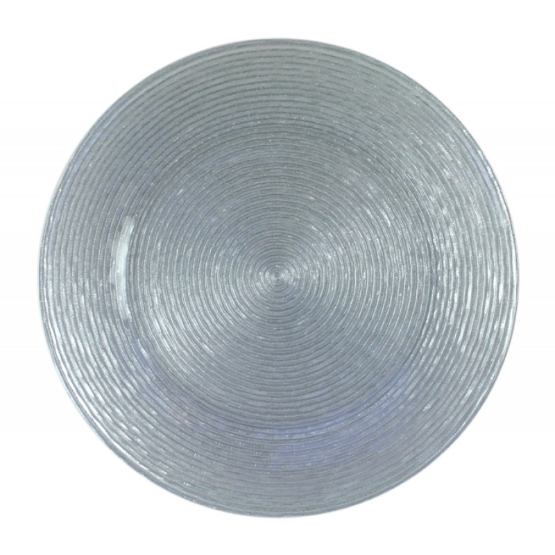 ChargeIt! by Jay Circus Silver Glitter Glass Charger Plate