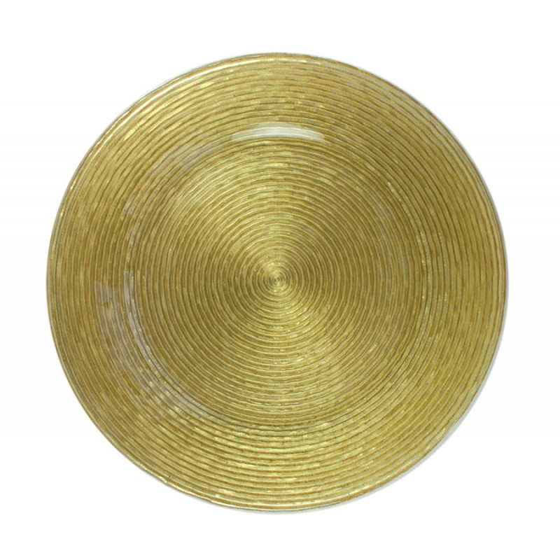 ChargeIt! by Jay Circus Gold Glitter Glass Charger Plate