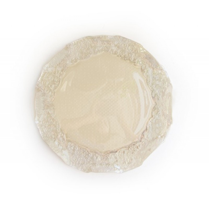 Round Roberta Iris Luster Pearl Glass Charger Plates
