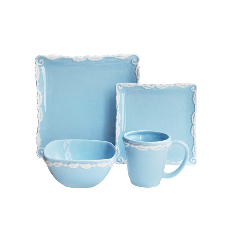 American Atelier Bianca Wave 16 Piece Square Dinnerware Set