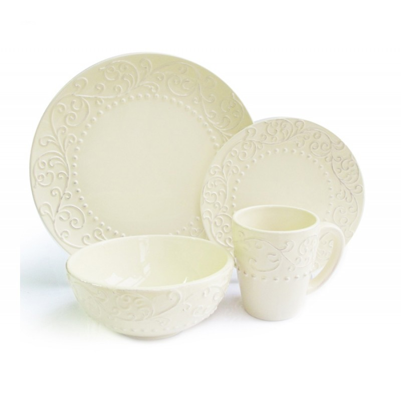 American Atelier Bianca Cream 16 Piece Dinnerware Set