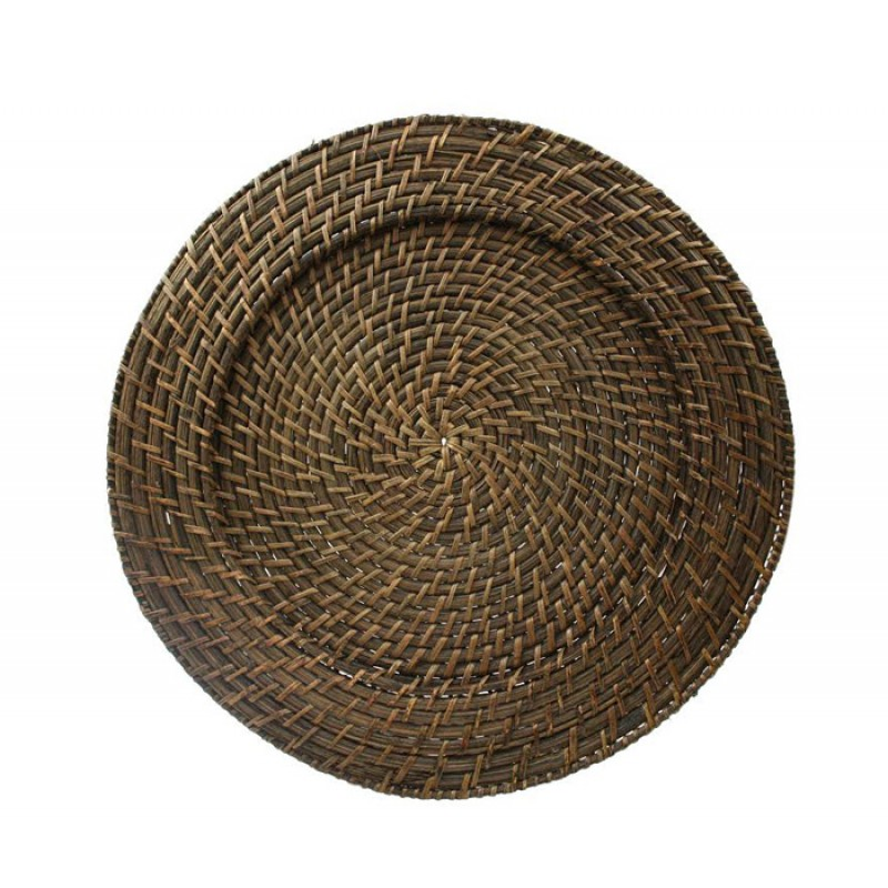Charge it by Jay Brick Brown Round Rattan Charger Plate - Set of 4