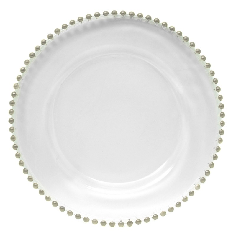 ChargeIt by Jay! 13-Inch Beaded Charger Plate-Silver