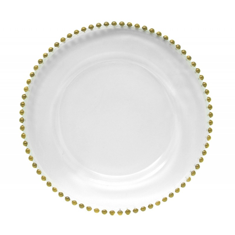 ChargeIt by Jay! 13-Inch Gold Beaded Charger Plate