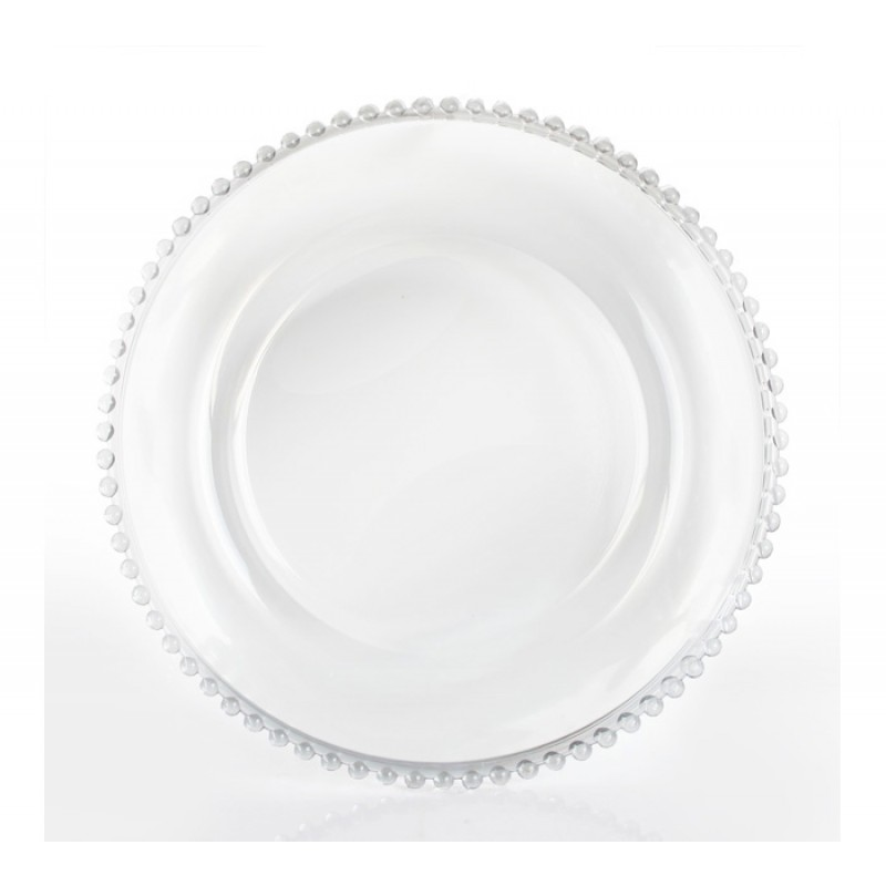 ChargeIt by Jay! 13-Inch Clear Beaded Charger Plate