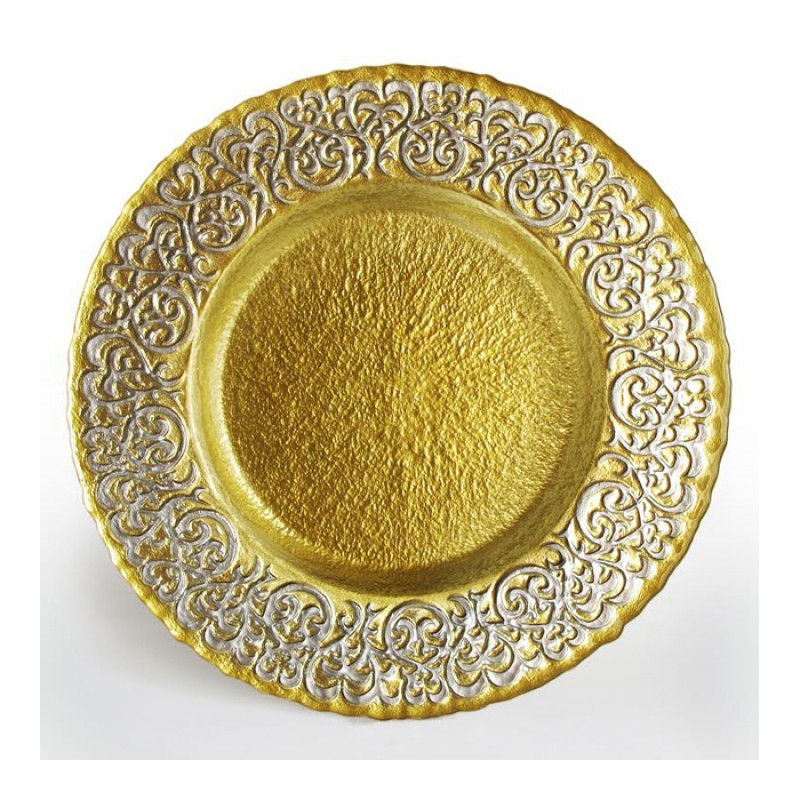 ChargeIt by Jay Baroque Silver & Gold Charger Plate