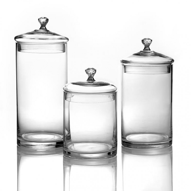 Style Setter Canister Set 3-Piece Glass Jars Chic Design With Lids And Silver Knobs for Cookies, Candy, Coffee, Flour, Sugar, Rice, Pasta, Cereal & More