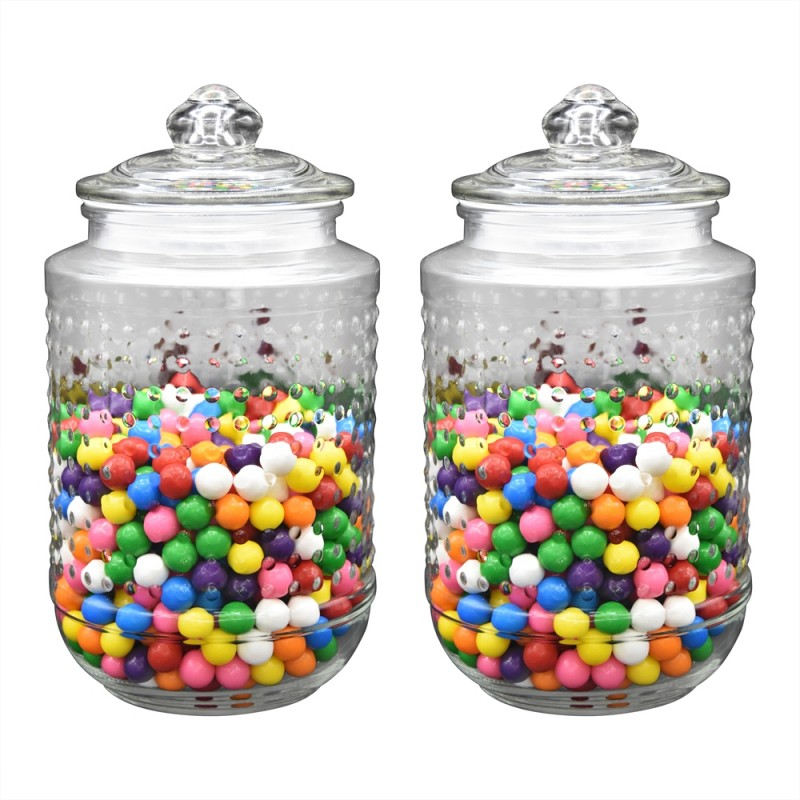 "Klikel Beaded Glass Canister Jar Set of 2 Large Jars, 8"" High 5"" Die"
