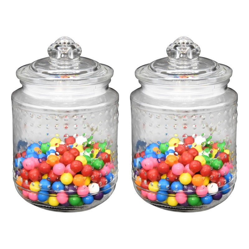 "Klikel Beaded Glass Canister Jar Set of 2 Medium Jars, 6"" High 4.5"" Die"