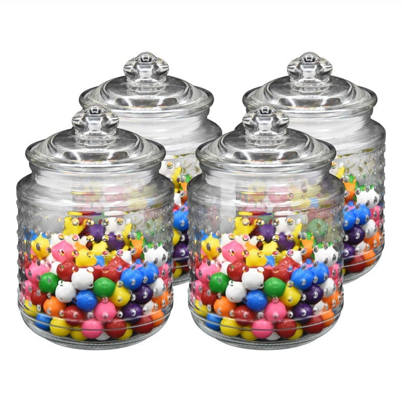 "Klikel Beaded Glass Canister Jar Set of 4 Small Jars, 4.5"" High 3.5"" Die"