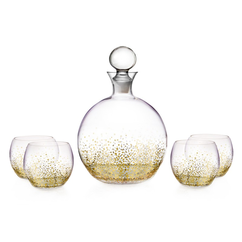 Fitz & Floyd Luster Gold 5 Piece Decanter Set