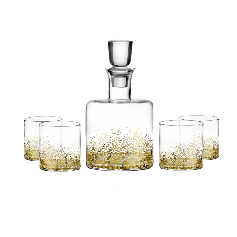 Fitz & Floyd Luster Gold 5 Piece Whiskey Decanter Set