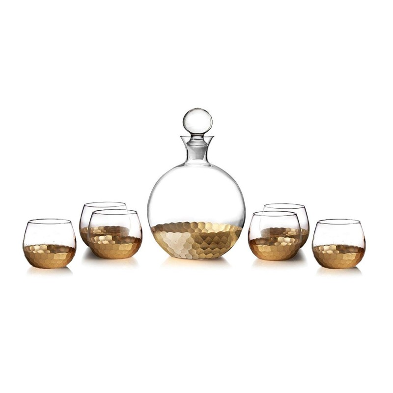 Fitz and Floyd Daphne Gold Crystal 7 Piece Decorative Whiskey Decanter Set Ornate Top Lead Free Glass with 6 Glasses for Wine, Bourbon, Brandy, Liquor, Juice and Water – Makes For an Ideal Gift