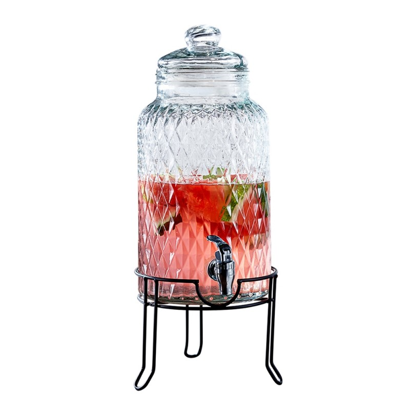 Style Setter Quilted Beverage Dispenser with Metal Stand Cold Drink Wine Juice with 1.3 Gallon Capacity Glass Jug, Leak-Proof Acrylic Spigot Great for Parties, Entertaining, Weddings and More