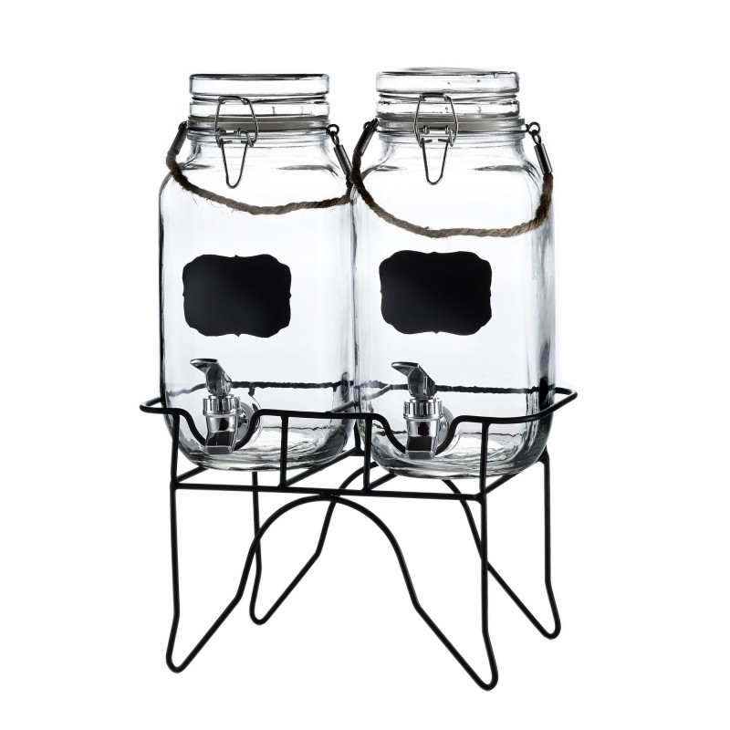 Style Setter Newcastle Set of 2 Beverage Dispensers with Stand & Rope Handle